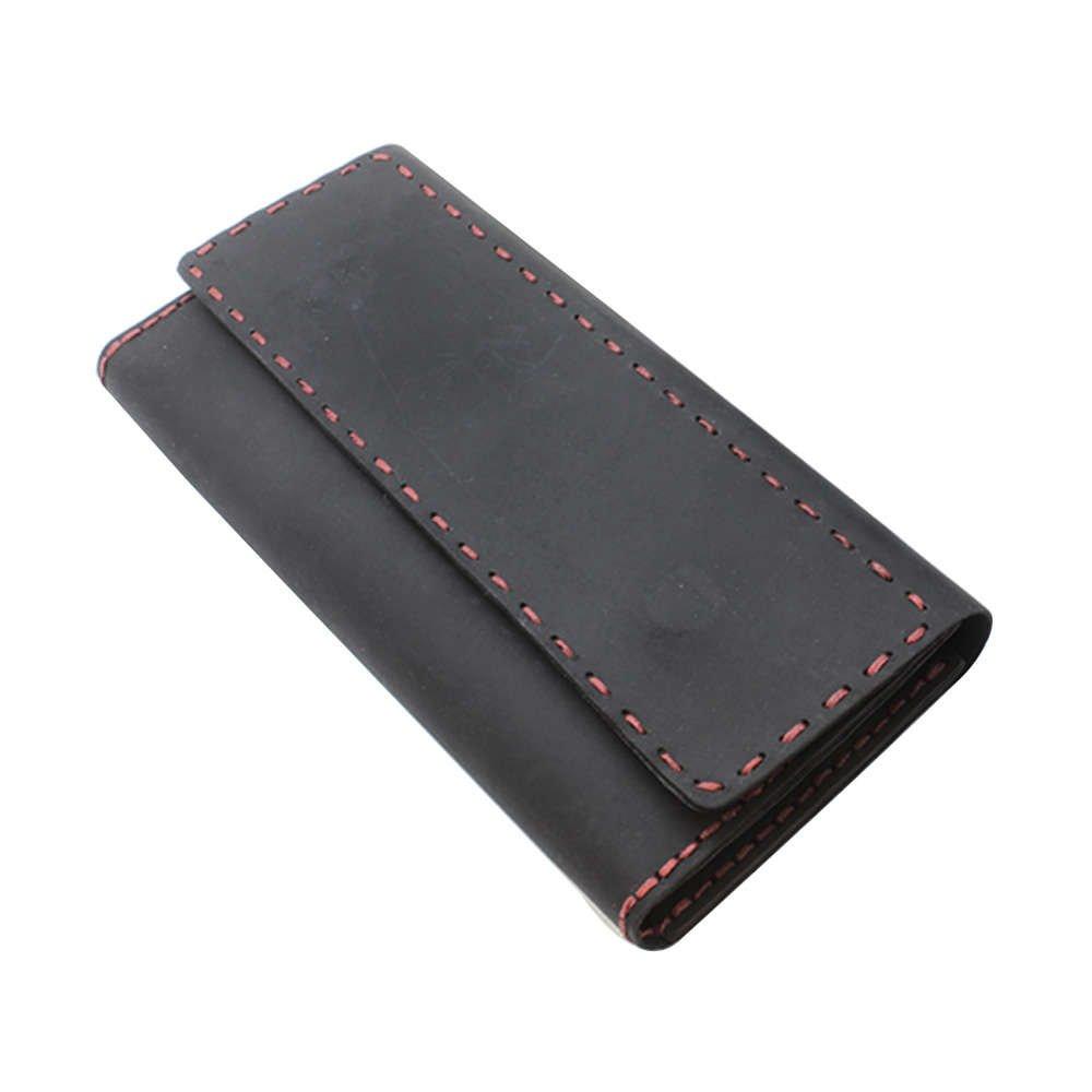 Magnet Kapaklı Kırmızı İpten Tamamı El Dikişi Siyah Crazy Dana Derisi Cüzdan