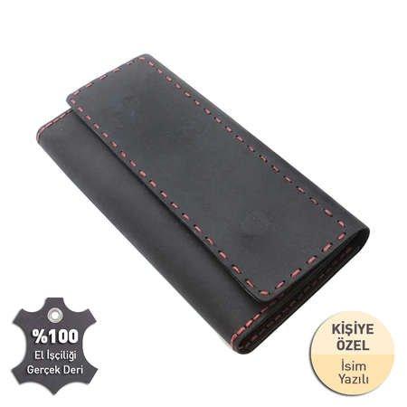 Magnet Kapaklı Kırmızı İpten Tamamı El Dikişi Siyah Crazy Dana Derisi Cüzdan - Thumbnail