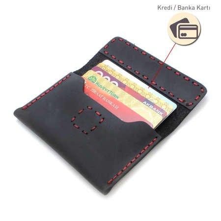 Magnet Kapaklı Kırmızı İpten Tamamı El Dikişi Siyah Crazy Dana Derisi Kartlık - Thumbnail