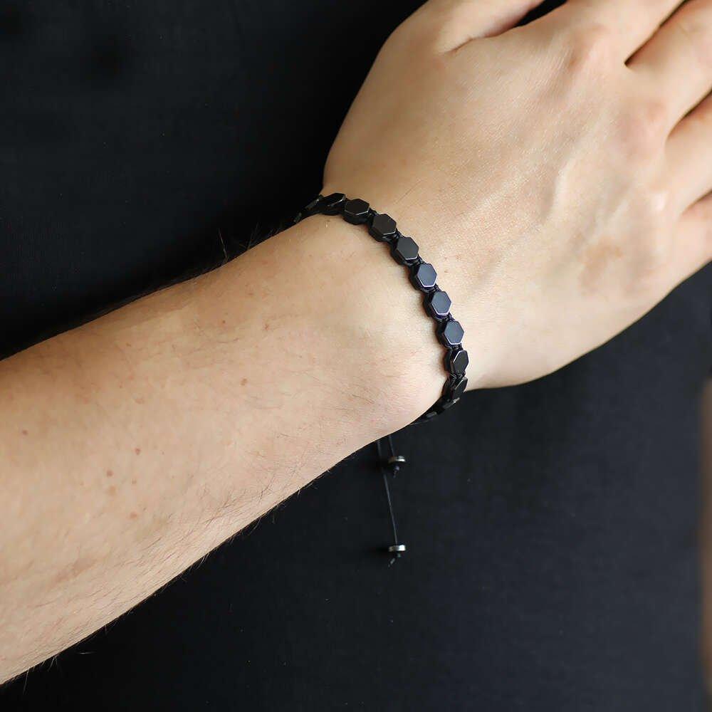 Makrome Örgülü Altıgen Tasarım Siyah Hematit Doğaltaş Bileklik