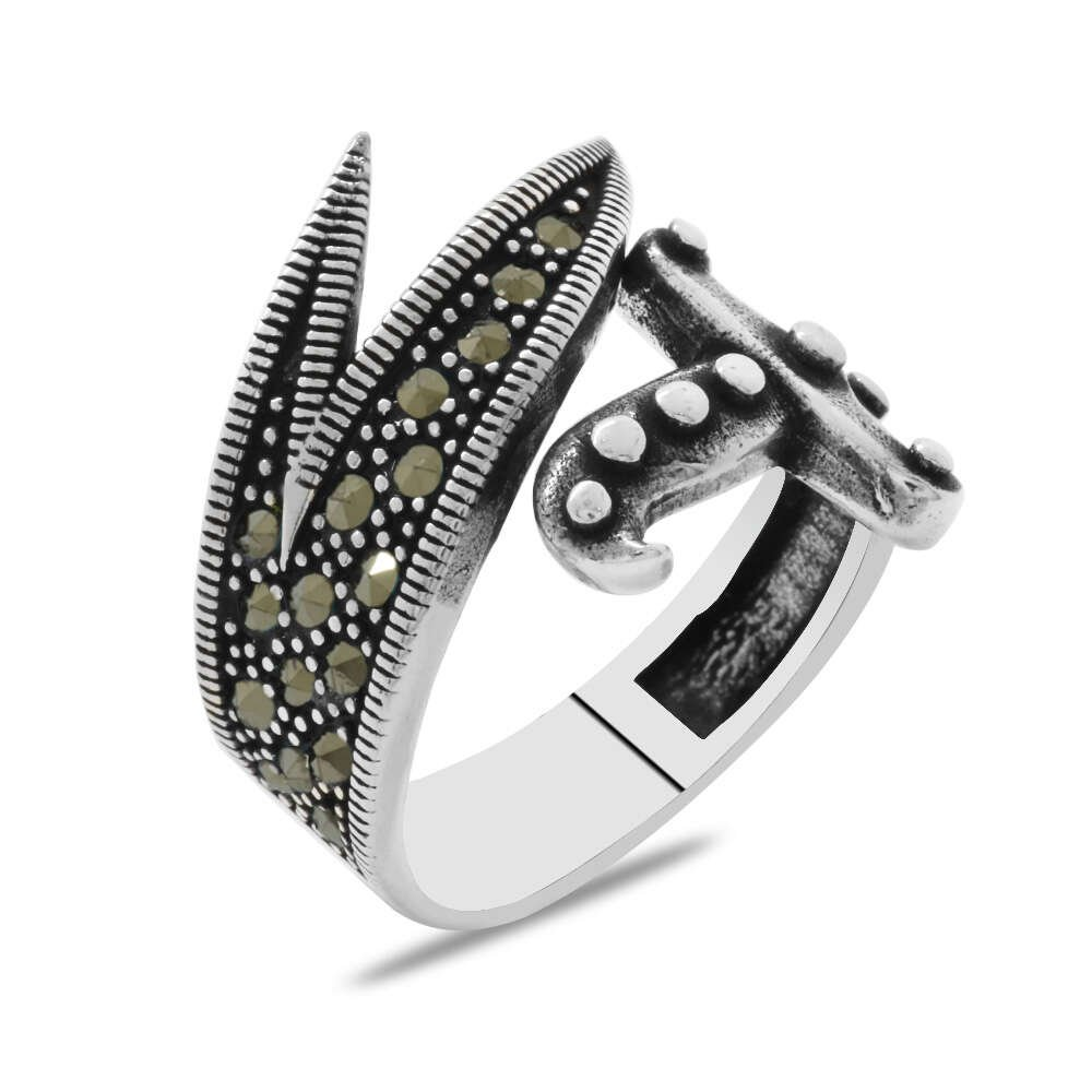 Markazit Taş Mıhlamalı Zülfikar Tasarım 925 Ayar Gümüş Erkek Yüzük