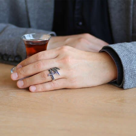 Markazit Taş Mıhlamalı Zülfikar Tasarım 925 Ayar Gümüş Erkek Yüzük - Thumbnail