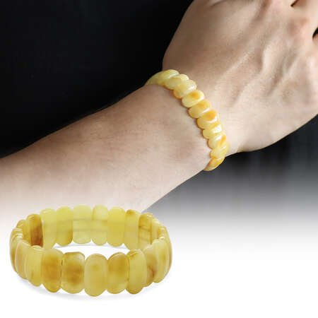 Mat Kristal Sarı Doğal Damla Kehribar Rolex Bileklik - Thumbnail