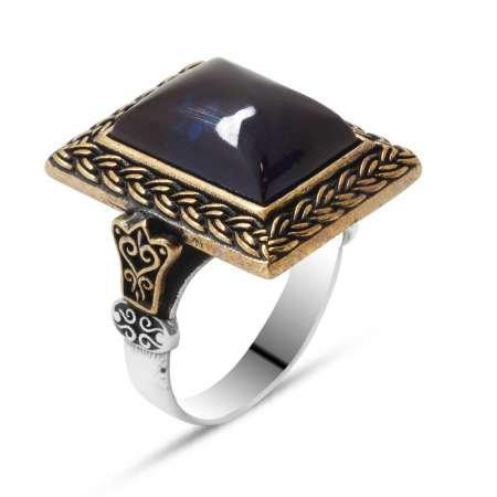 Mavi Ateş Kehribar Taşlı Dörtgen Tasarım 925 Ayar Gümüş Erkek Yüzük - Thumbnail