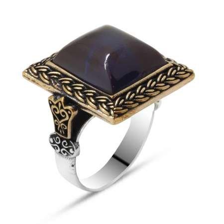 Mavi Ateş Kehribar Taşlı Kare Tasarım 925 Ayar Gümüş Erkek Yüzük - Thumbnail