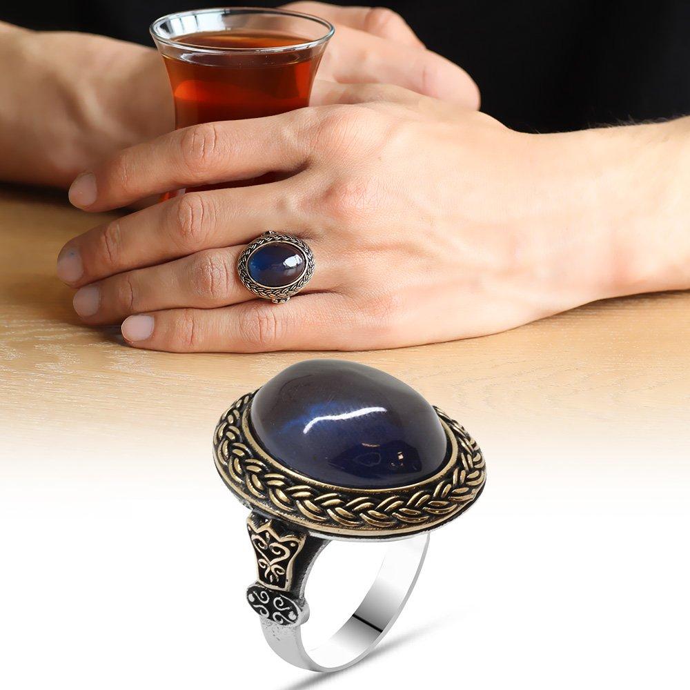 Mavi Ateş Kehribar Taşlı Oval Tasarım 925 Ayar Gümüş Erkek Yüzük