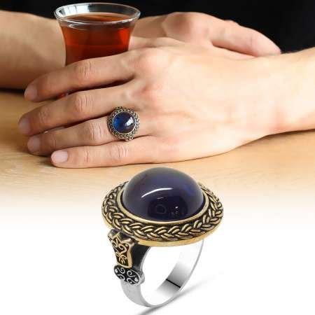 Mavi Ateş Kehribar Taşlı Yuvarlak Tasarım 925 Ayar Gümüş Erkek Yüzük - Thumbnail