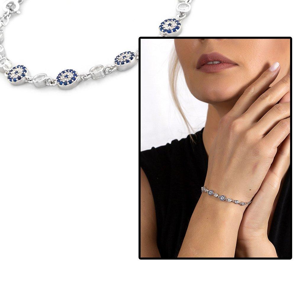 Mavi-Beyaz Zirkon Taşlı Çiçek Model Zarif Tasarım 925 Ayar Gümüş Kadın Bileklik