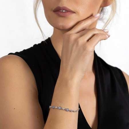 Mavi-Beyaz Zirkon Taşlı Çiçek Model Zarif Tasarım 925 Ayar Gümüş Kadın Bileklik - Thumbnail