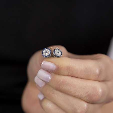 Mavi-Beyaz Zirkon Taşlı Çiçek Tasarım 925 Ayar Gümüş Kadın Küpe - Thumbnail
