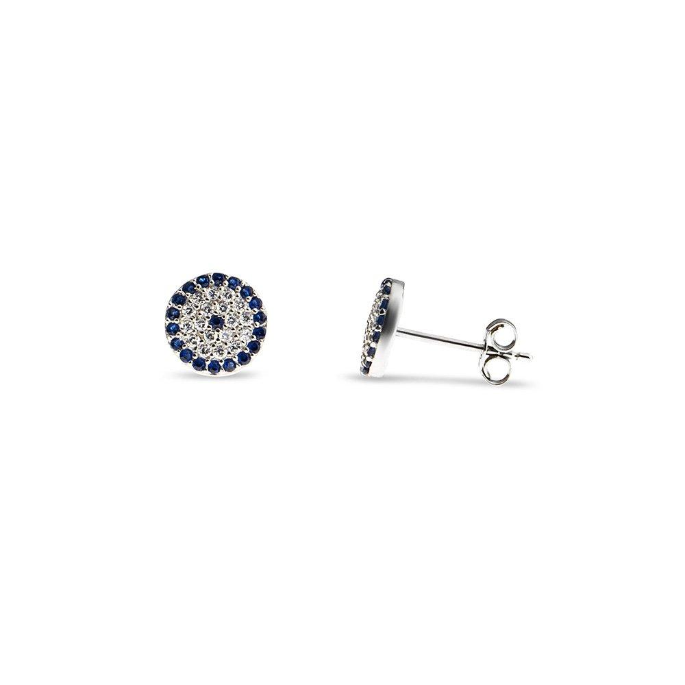 Mavi-Beyaz Zirkon Taşlı Çiçek Tasarım 925 Ayar Gümüş Kadın Küpe
