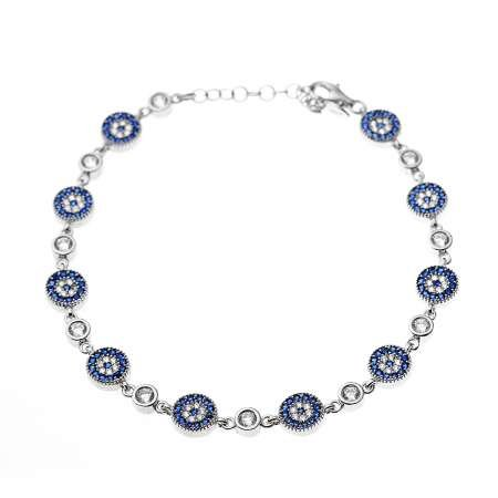 Mavi-Beyaz Zirkon Taşlı Çiçek Tasarım Tam Tur 925 Ayar Gümüş Kadın Bileklik - Thumbnail