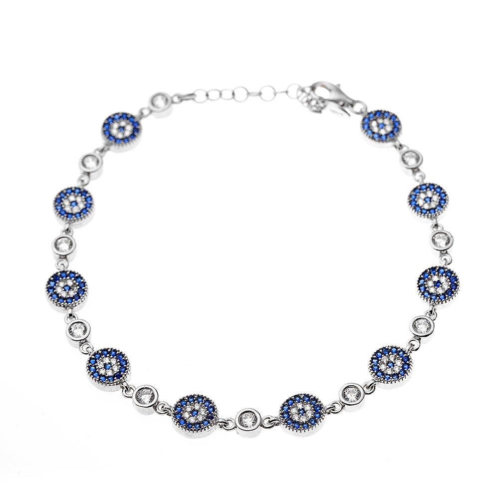 Mavi-Beyaz Zirkon Taşlı Çiçek Tasarım Tam Tur 925 Ayar Gümüş Kadın Bileklik