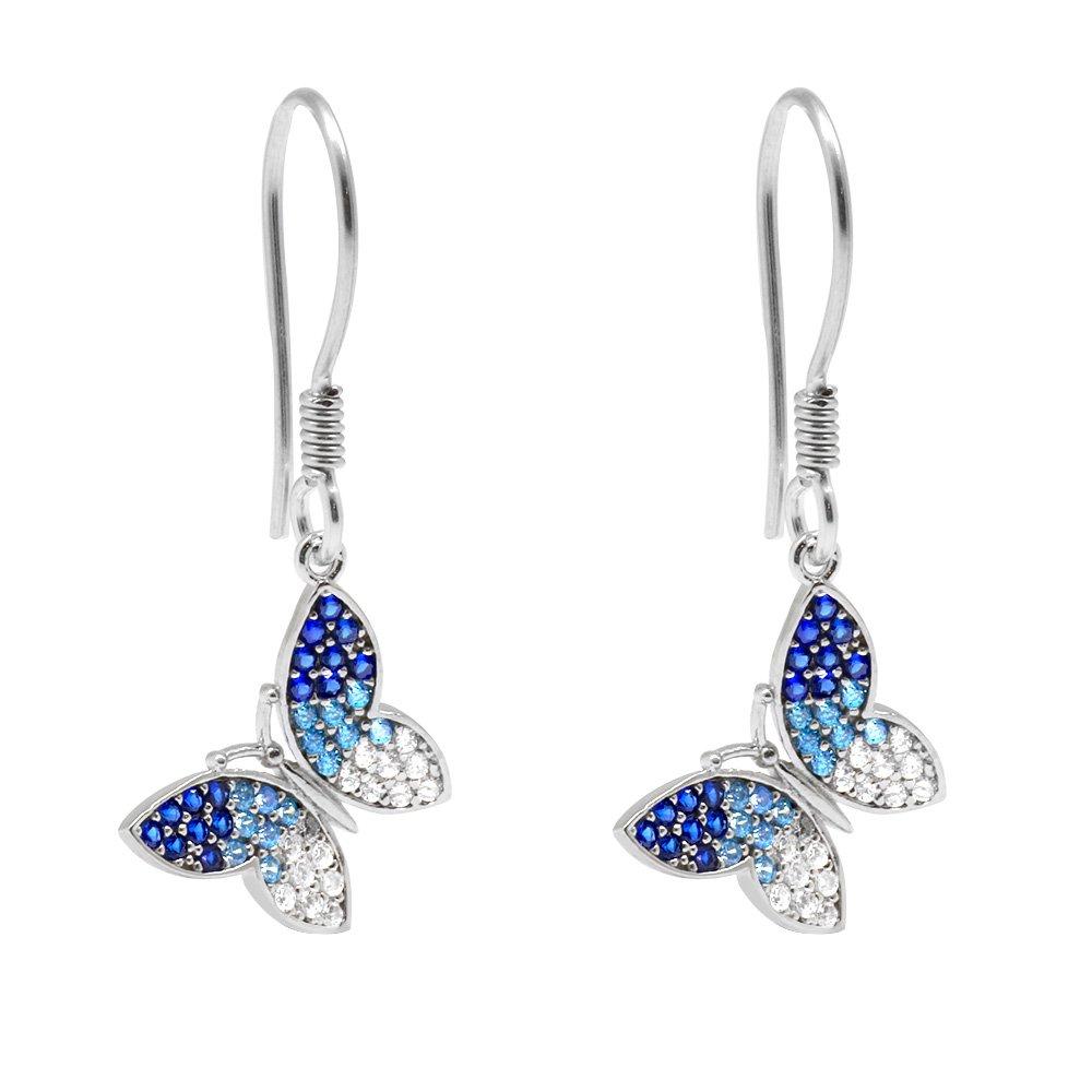 Mavi-Beyaz Zirkon Taşlı Kelebek Tasarım 925 Ayar Gümüş 3'lü Takı Seti