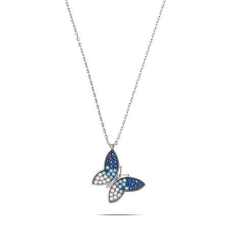 Mavi-Beyaz Zirkon Taşlı Kelebek Tasarım 925 Ayar Gümüş Bayan Kolye - Thumbnail