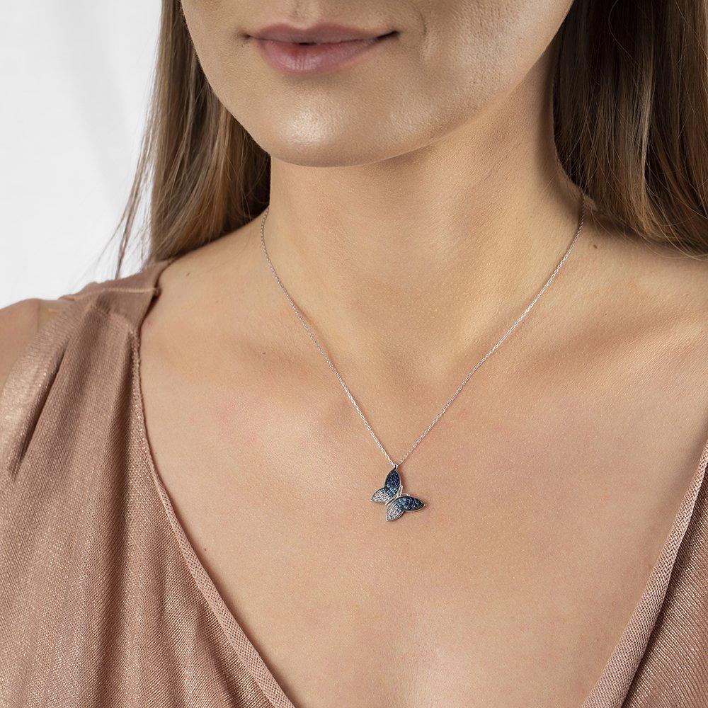 Mavi-Beyaz Zirkon Taşlı Kelebek Tasarım 925 Ayar Gümüş Bayan Kolye
