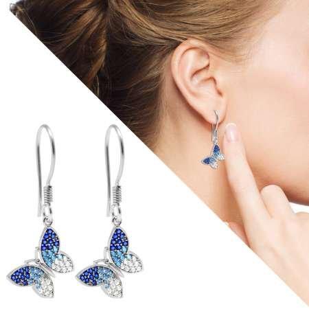 Mavi-Beyaz Zirkon Taşlı Kelebek Tasarım 925 Ayar Gümüş Bayan Küpe - Thumbnail