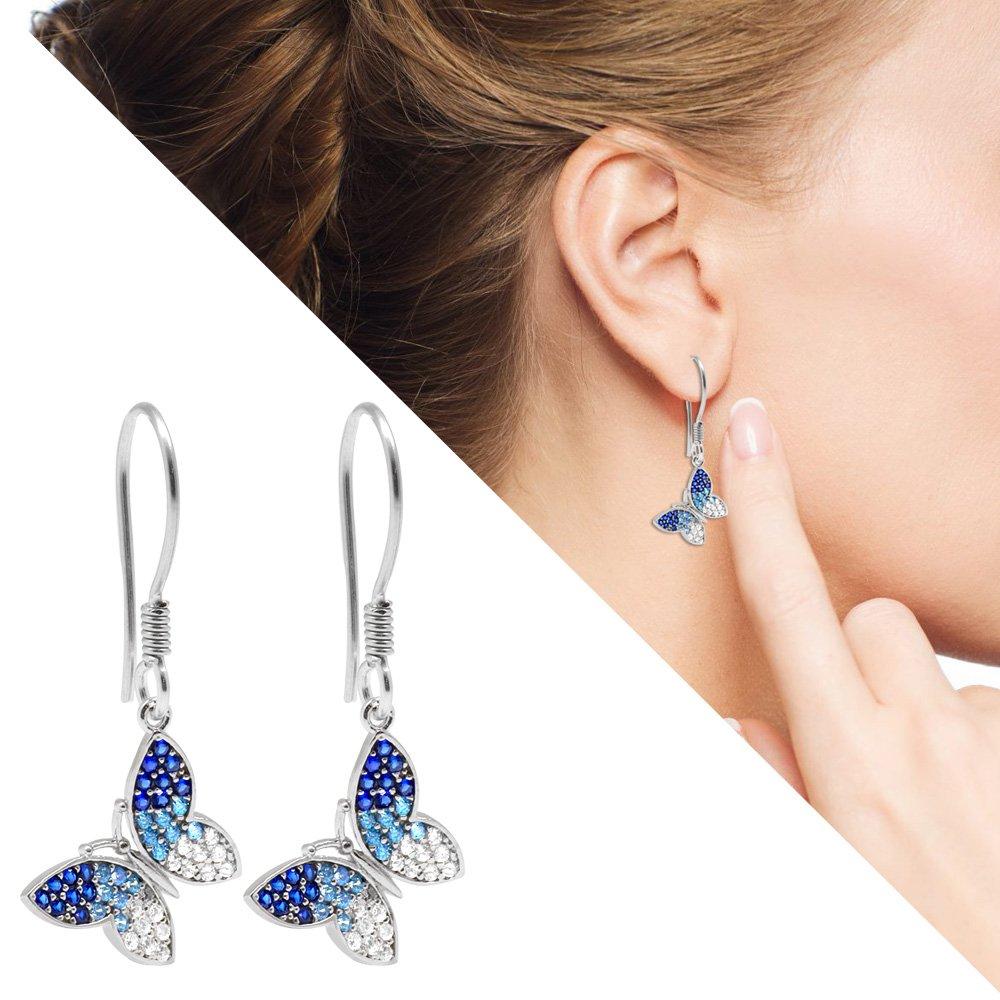 Mavi-Beyaz Zirkon Taşlı Kelebek Tasarım 925 Ayar Gümüş Bayan Küpe