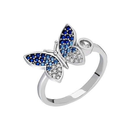Mavi-Beyaz Zirkon Taşlı Kelebek Tasarım 925 Ayar Gümüş Bayan Yüzük - Thumbnail
