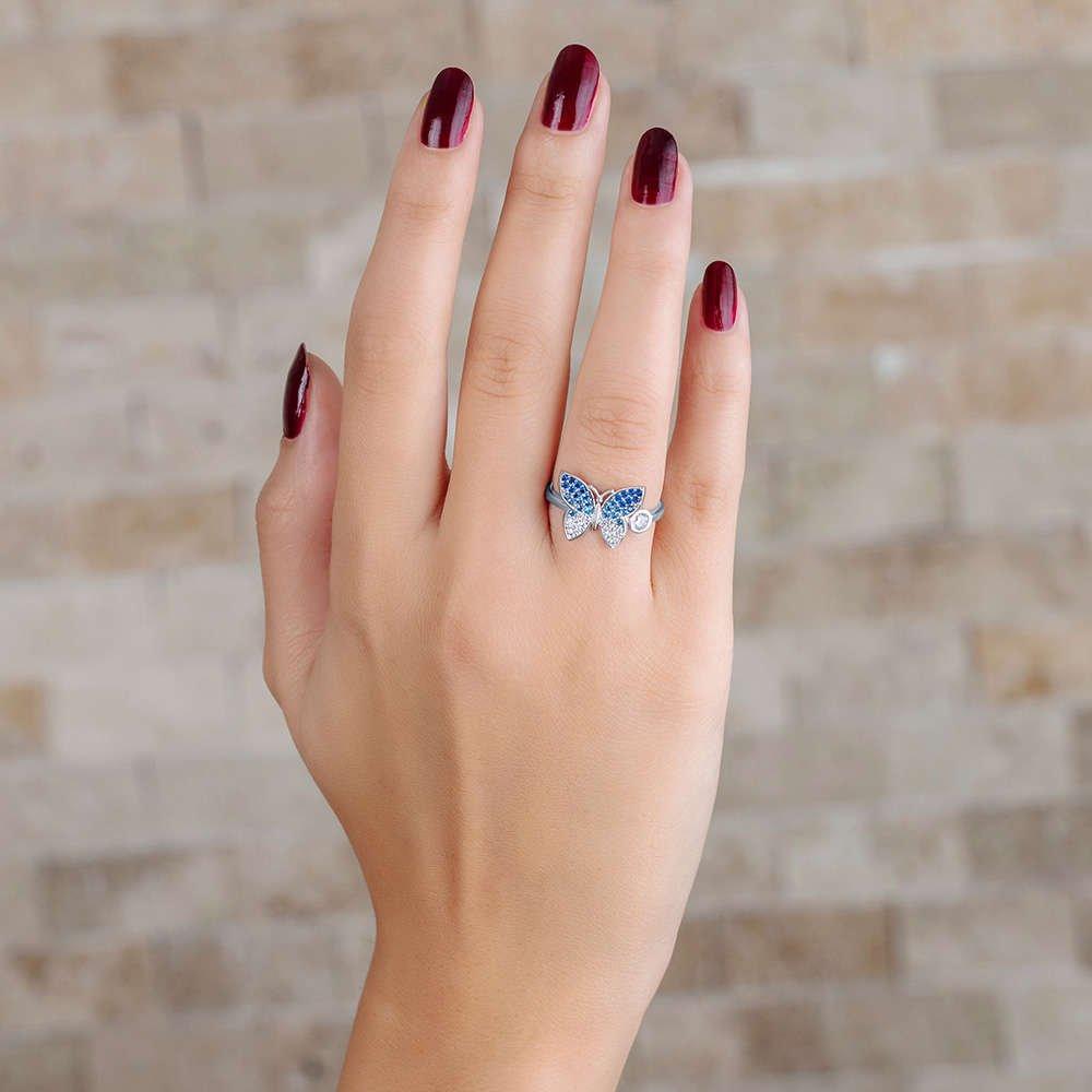 Mavi-Beyaz Zirkon Taşlı Kelebek Tasarım 925 Ayar Gümüş Bayan Yüzük