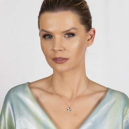 Mavi-Beyaz Zirkon Taşlı Rüzgar Gülü Tasarım Gold Renk 925 Ayar Gümüş Kadın Kolye - Thumbnail