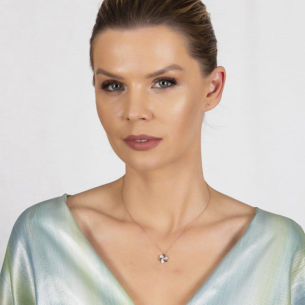 Mavi-Beyaz Zirkon Taşlı Rüzgar Gülü Tasarım Gold Renk 925 Ayar Gümüş Kadın Kolye