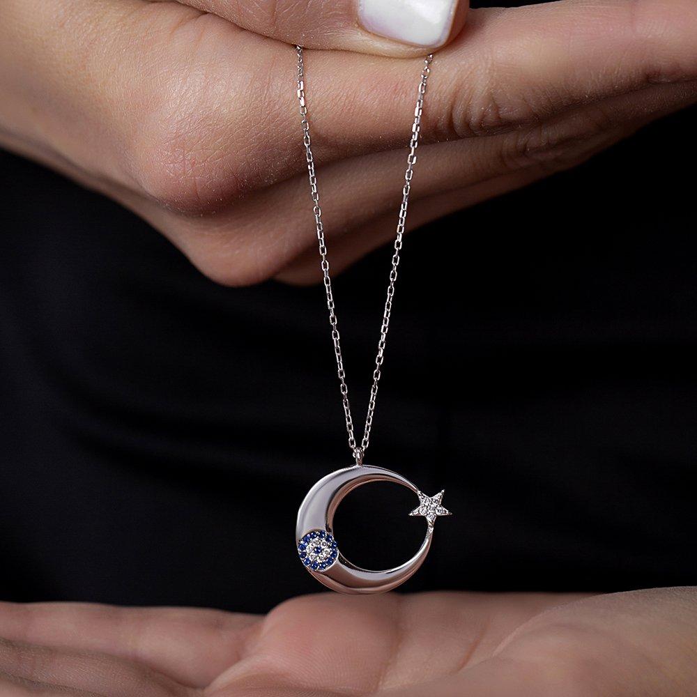 Mavi-Beyaz Zirkon Taşlı Şık Tasarım 925 Ayar Gümüş Ayyıldız Kolye