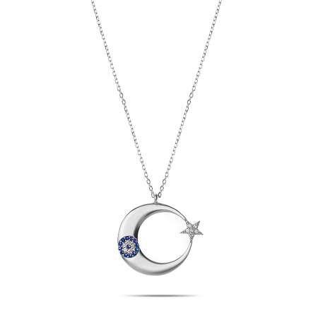 Mavi-Beyaz Zirkon Taşlı Şık Tasarım 925 Ayar Gümüş Ayyıldız Kolye - Thumbnail