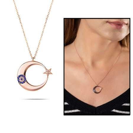 Mavi-Beyaz Zirkon Taşlı Şık Tasarım Rose Renk 925 Ayar Gümüş Ayyıldız Kolye - Thumbnail
