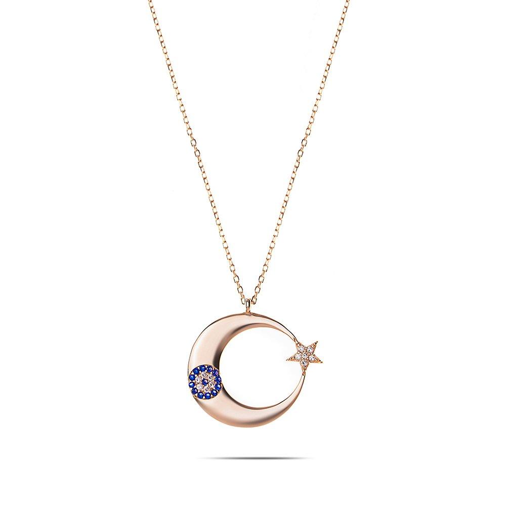 Mavi-Beyaz Zirkon Taşlı Şık Tasarım Rose Renk 925 Ayar Gümüş Ayyıldız Kolye