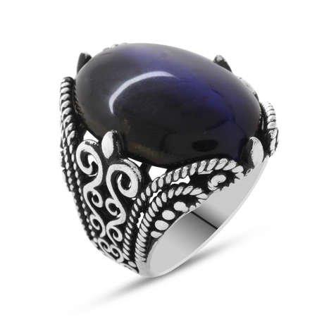 Mavi Kaplangözü Taşlı Ferforje Tasarım 925 Ayar Gümüş Erkek Yüzük - Thumbnail