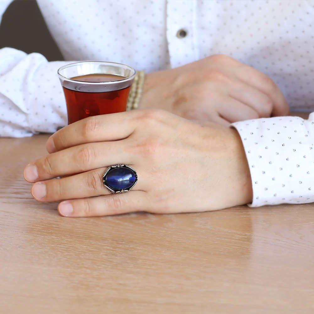 Mavi Kaplangözü Taşlı Ferforje Tasarım 925 Ayar Gümüş Erkek Yüzük