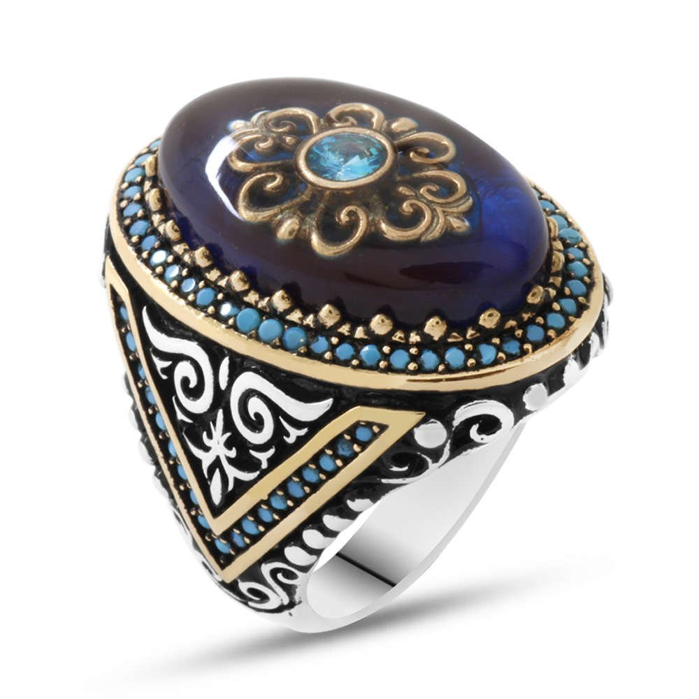 Mavi Kehribar İçine Kilim Deseni İşlemeli 925 Ayar Gümüş Erkek Yüzük