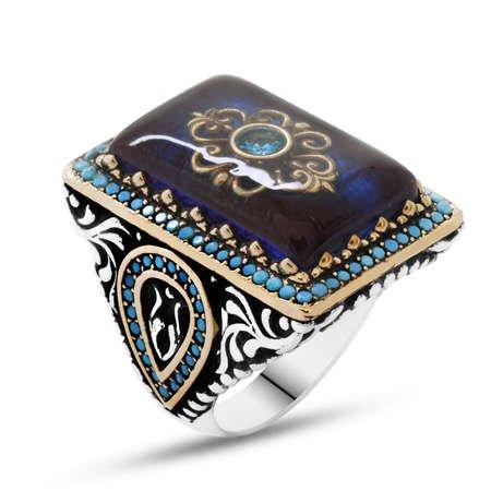 Mavi Kehribar İçine Kilim Deseni İşlemeli Lale Detaylı 925 Ayar Gümüş Erkek Yüzük - Thumbnail