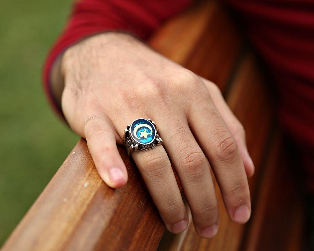 Mavi Mine Üzerine Ayyıldız 925 Ayar Gümüş Oval Yüzük