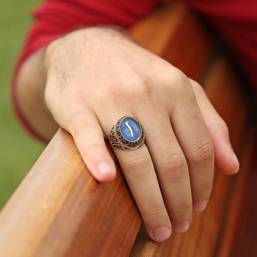 Mavi Mine Üzerine Elif Harfli 925 Ayar Gümüş Elif Yüzük