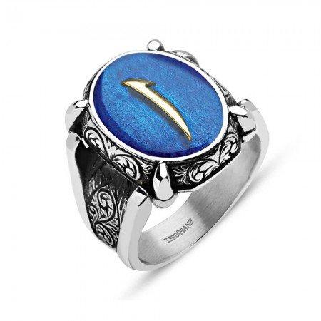 Mavi Mine Üzerine Elif Harfli 925 Ayar Gümüş Oval Yüzük - Thumbnail