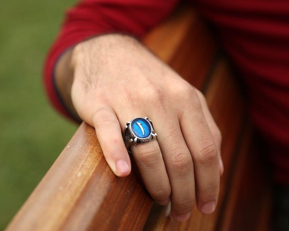 Mavi Mine Üzerine Elif Harfli 925 Ayar Gümüş Oval Yüzük