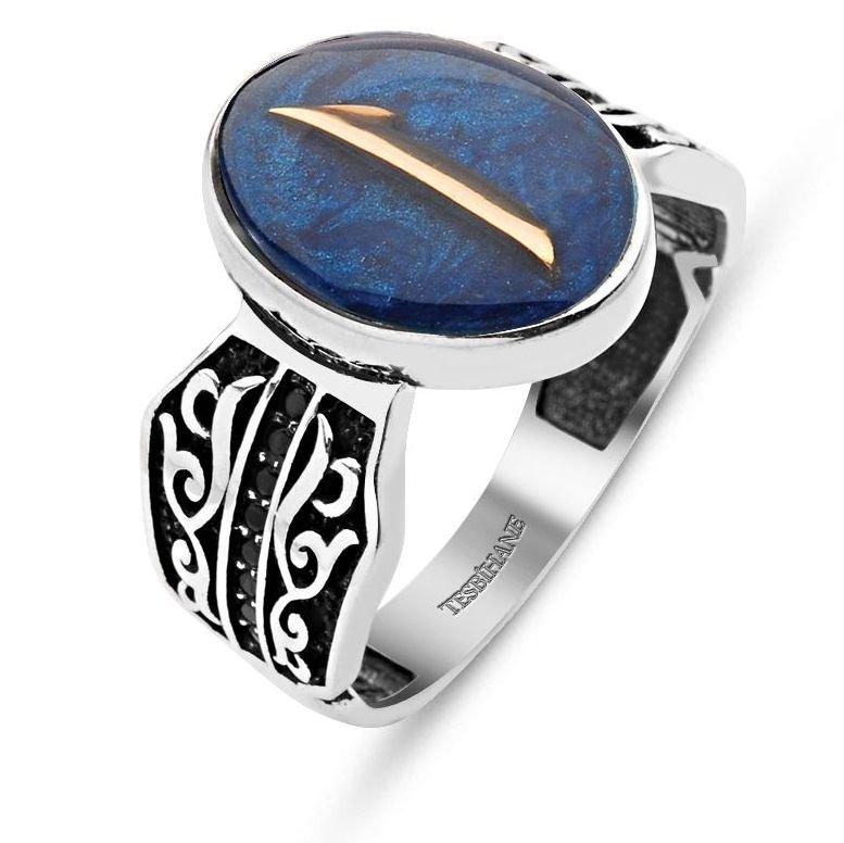Mavi Mine Üzerine Elif Harfli 925 Ayar Gümüş Yüzük