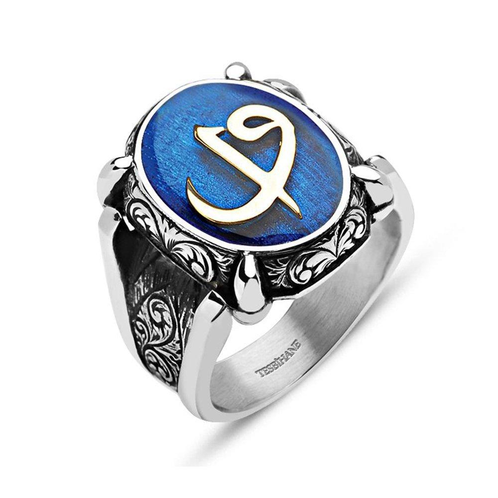 Mavi Mine Üzerine Elif Vav 925 Ayar Gümüş Oval Yüzük