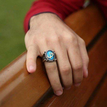 Mavi Mine Üzerine Elif Vav 925 Ayar Gümüş Oval Yüzük - Thumbnail
