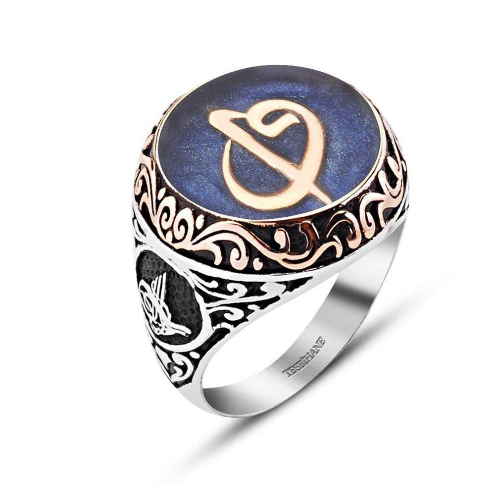 Mavi Mine Üzerine Elif Vav Harfli 925 Ayar Gümüş Tuğralı Yüzük