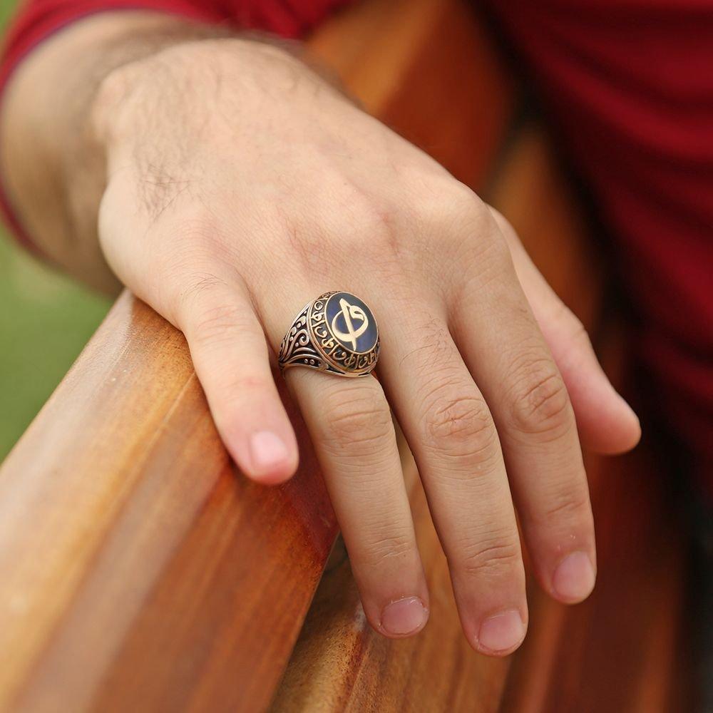 Mavi Mine Üzerine Elif Vav Harfli 925 Ayar Gümüş Yüzük