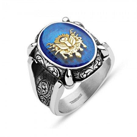 Mavi Mine Üzerine Osmanlı Arma 925 Ayar Gümüş Oval Yüzük - Thumbnail