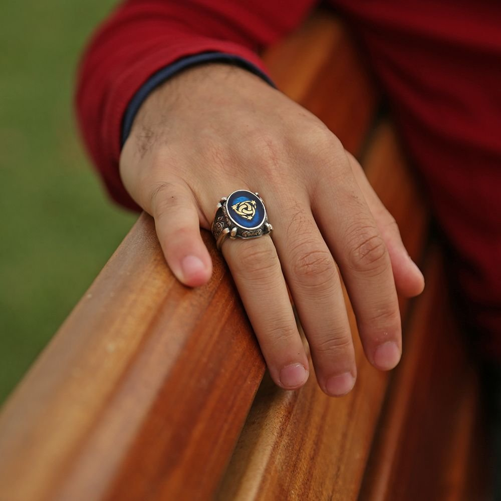 Mavi Mine Üzerine Teşkilat-I Mahsusa 925 Ayar Gümüş Oval Yüzük