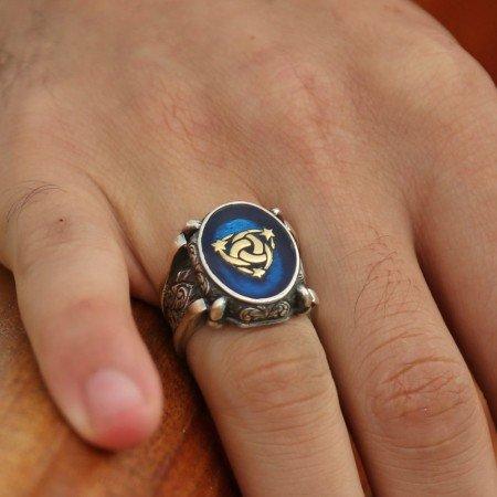 Mavi Mine Üzerine Teşkilat-I Mahsusa 925 Ayar Gümüş Oval Yüzük - Thumbnail