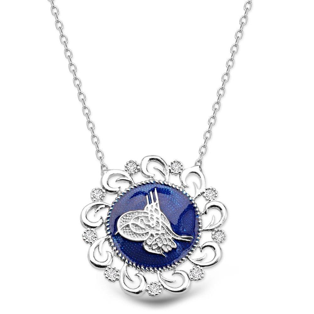Mavi Mine Üzerine Tuğralı 925 Ayar Gümüş Kolye