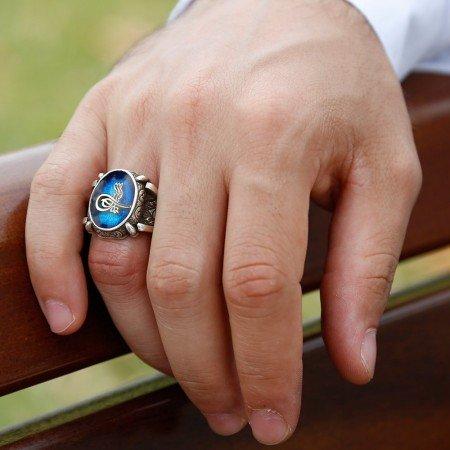Mavi Mine Üzerine Tuğralı 925 Ayar Gümüş Oval Yüzük - Thumbnail