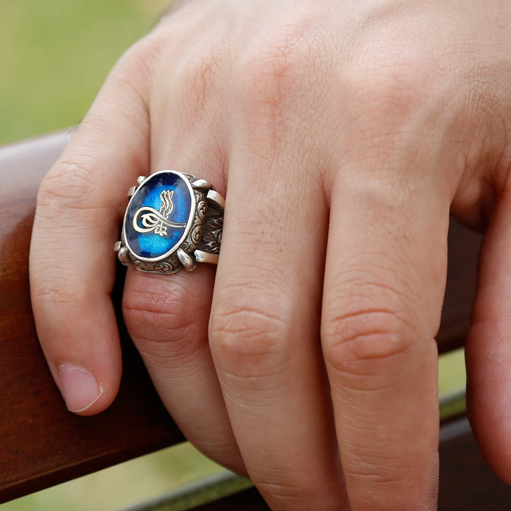 Mavi Mine Üzerine Tuğralı 925 Ayar Gümüş Oval Yüzük