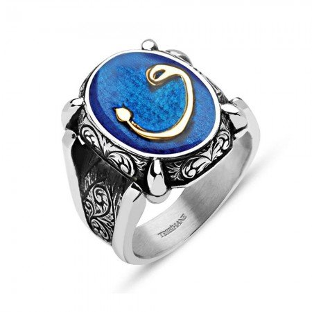 Mavi Mine Üzerine Vav Harfli 925 Ayar Gümüş Oval Yüzük - Thumbnail